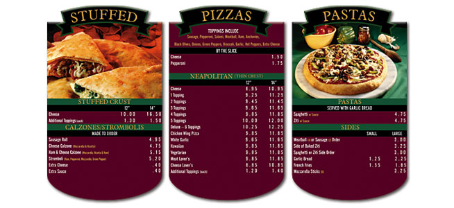 Pasta Menu Boards with Banner Header